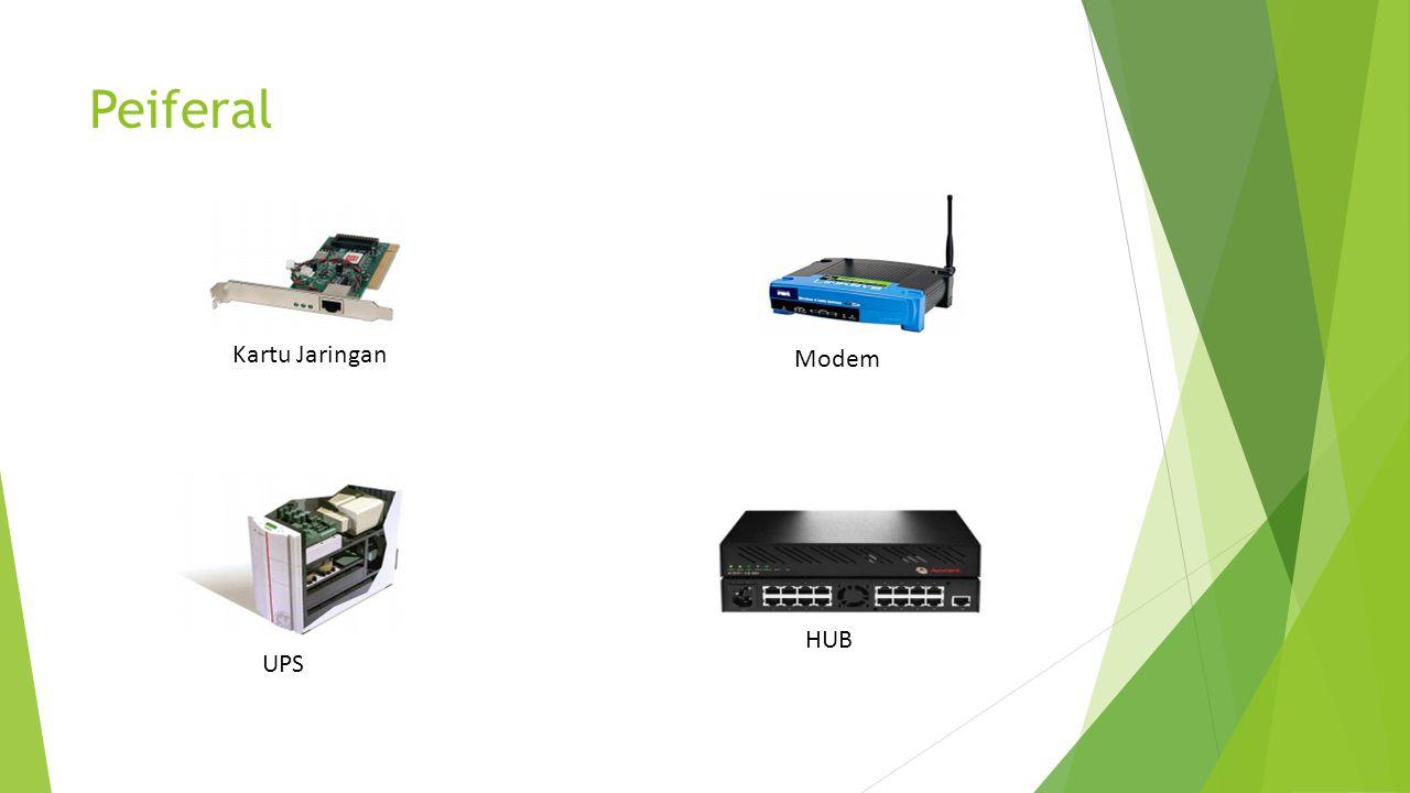 Peiferal Kartu Jaringan Modem HUB UPS