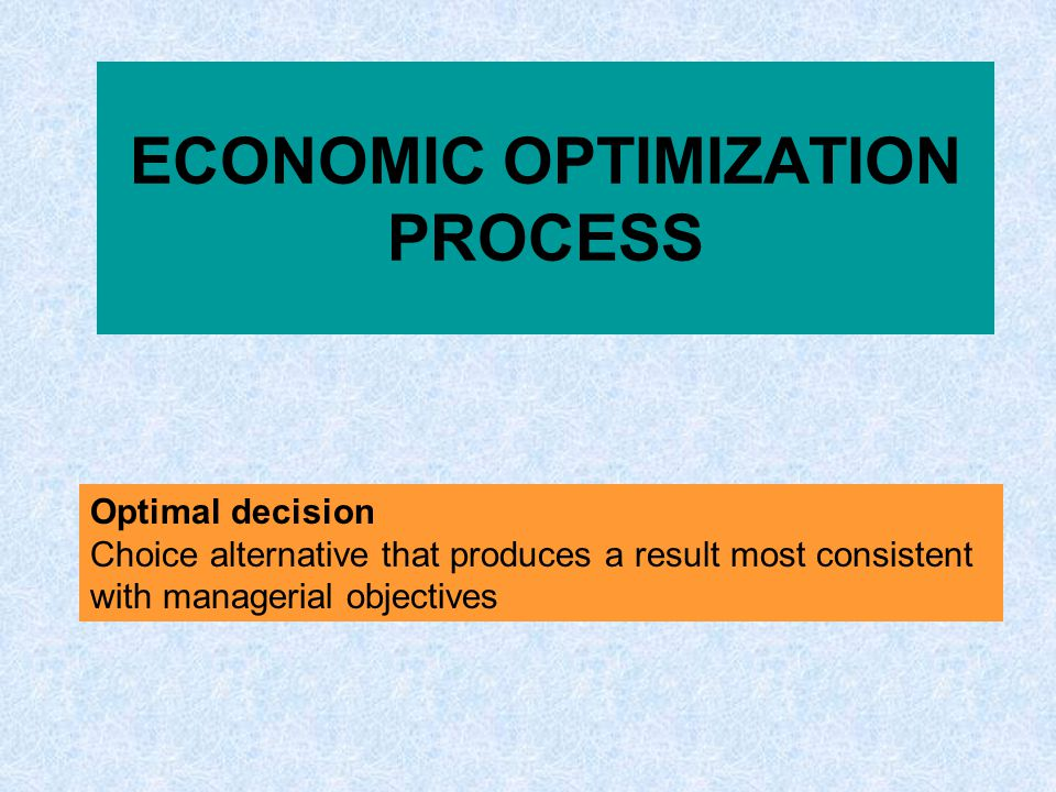 ECONOMIC OPTIMIZATION PROCESS