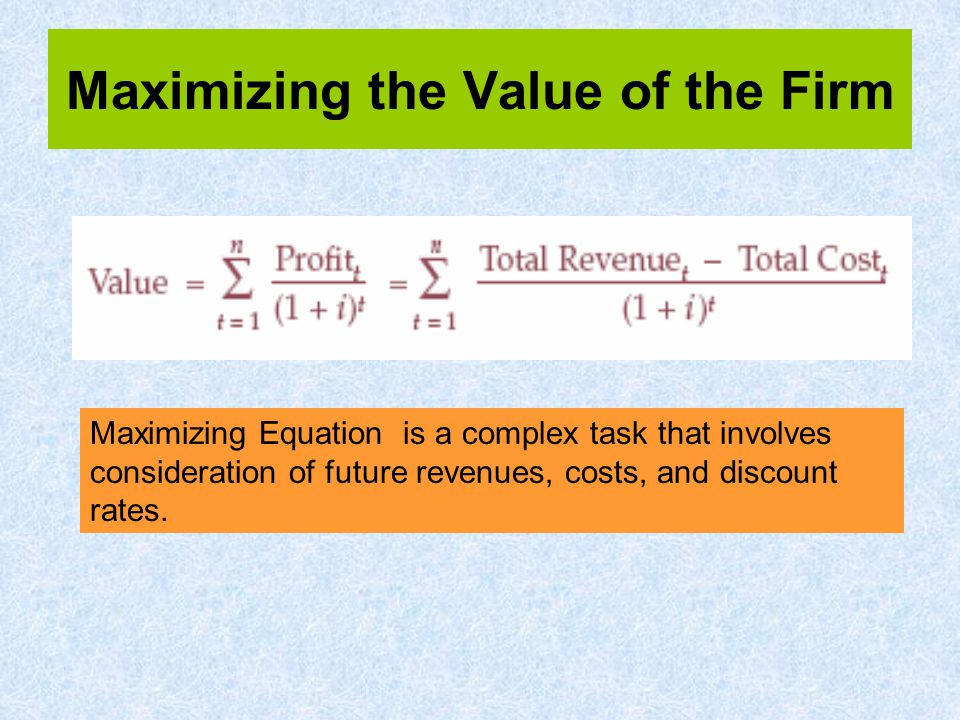 Maximizing the Value of the Firm