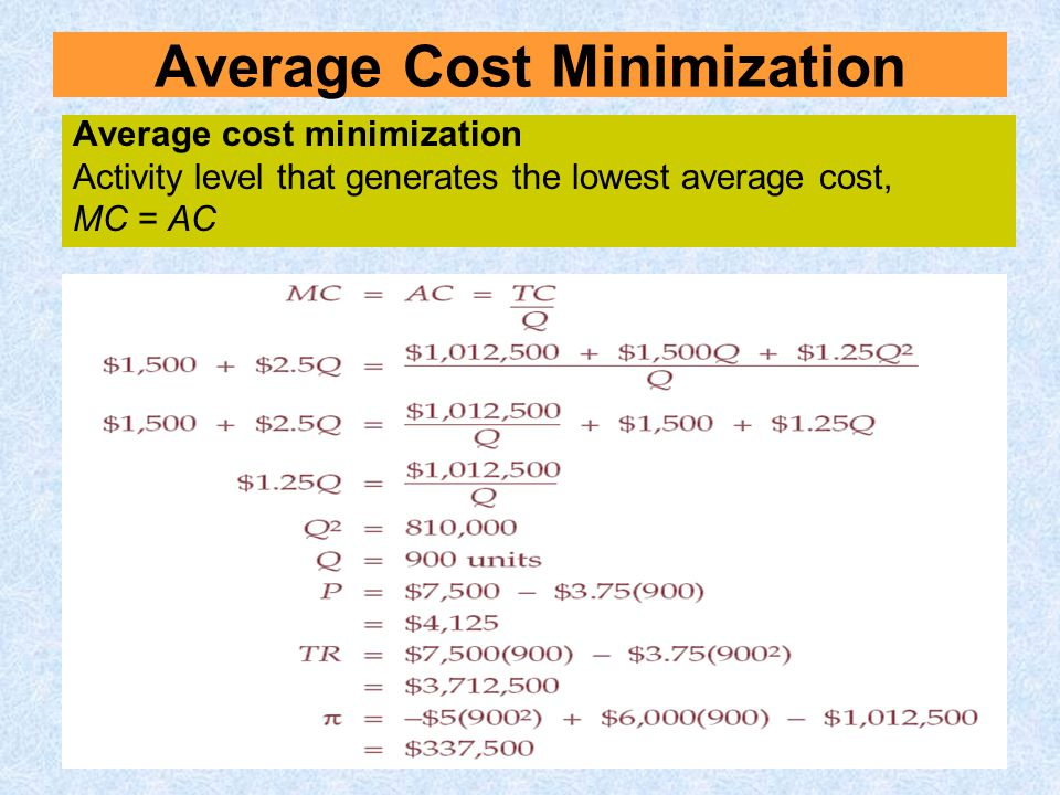 Average Cost Minimization