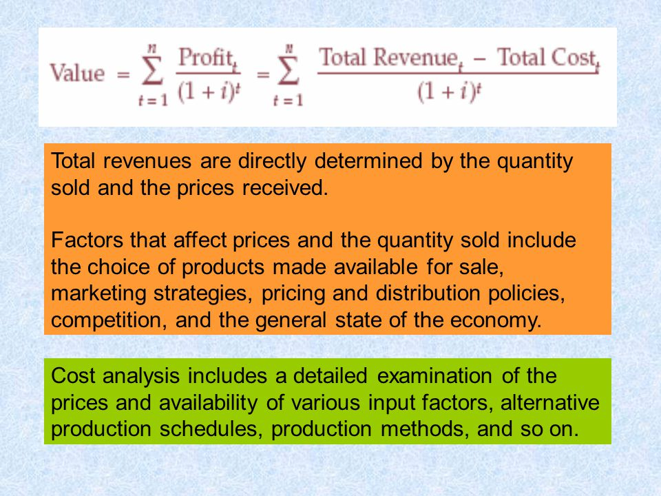 Total revenues are directly determined by the quantity sold and the prices received.