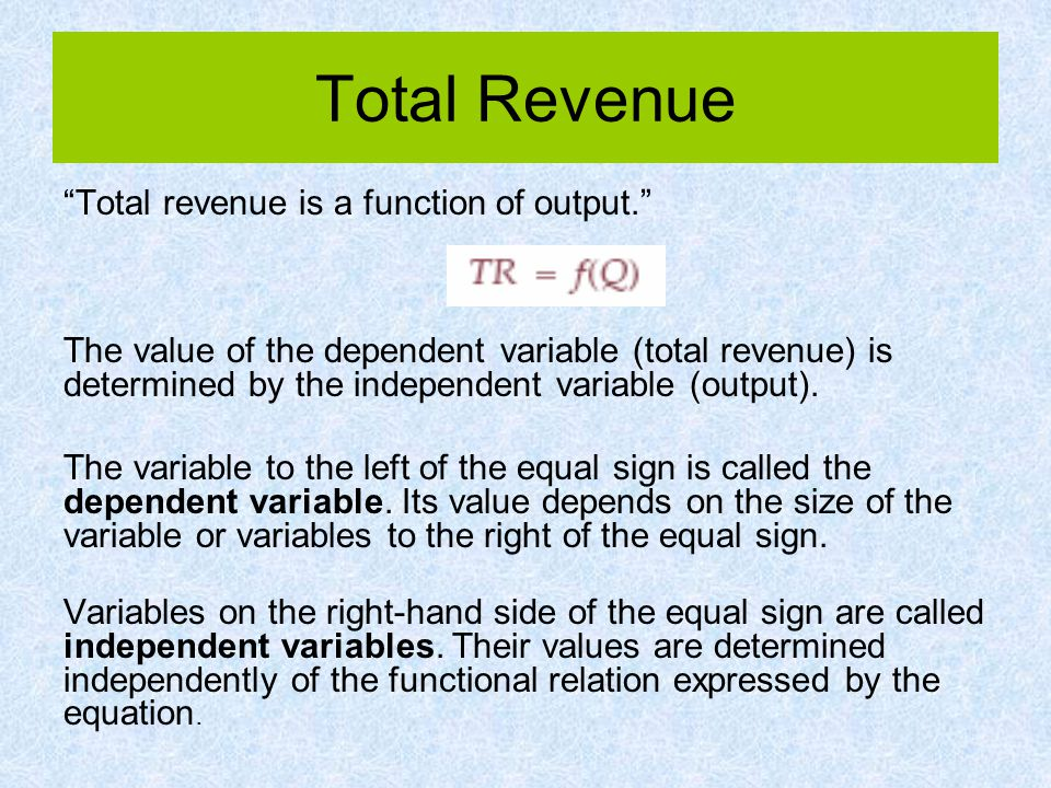 Total Revenue Total revenue is a function of output.