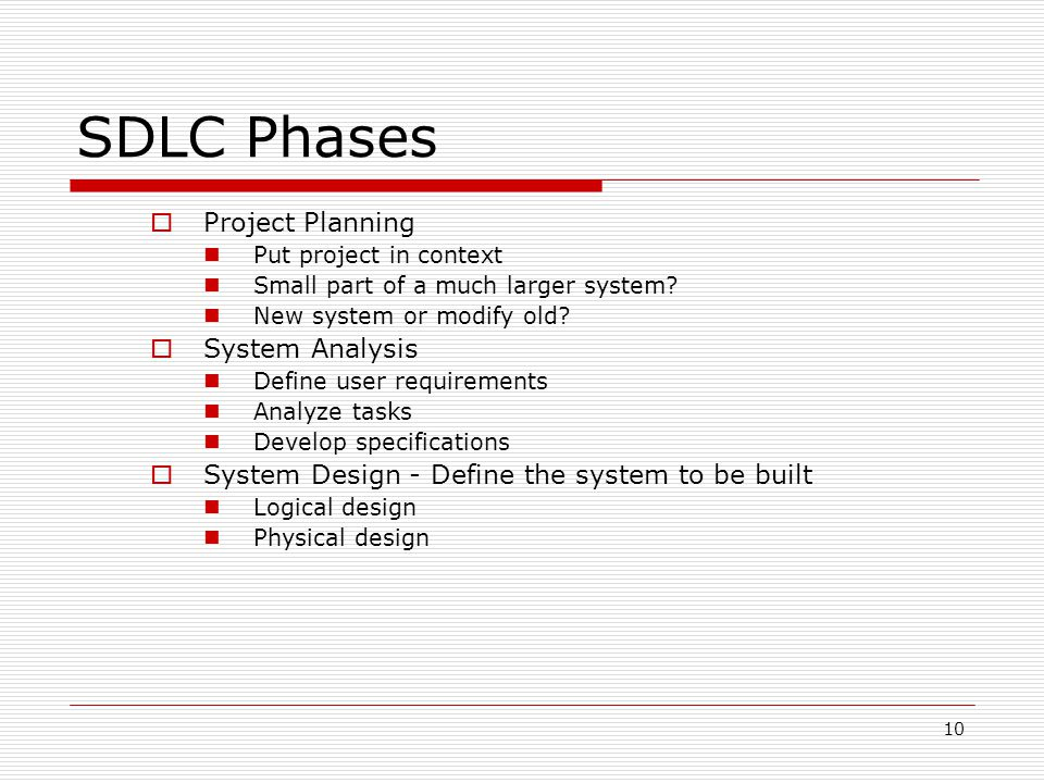 SDLC Phases Project Planning System Analysis