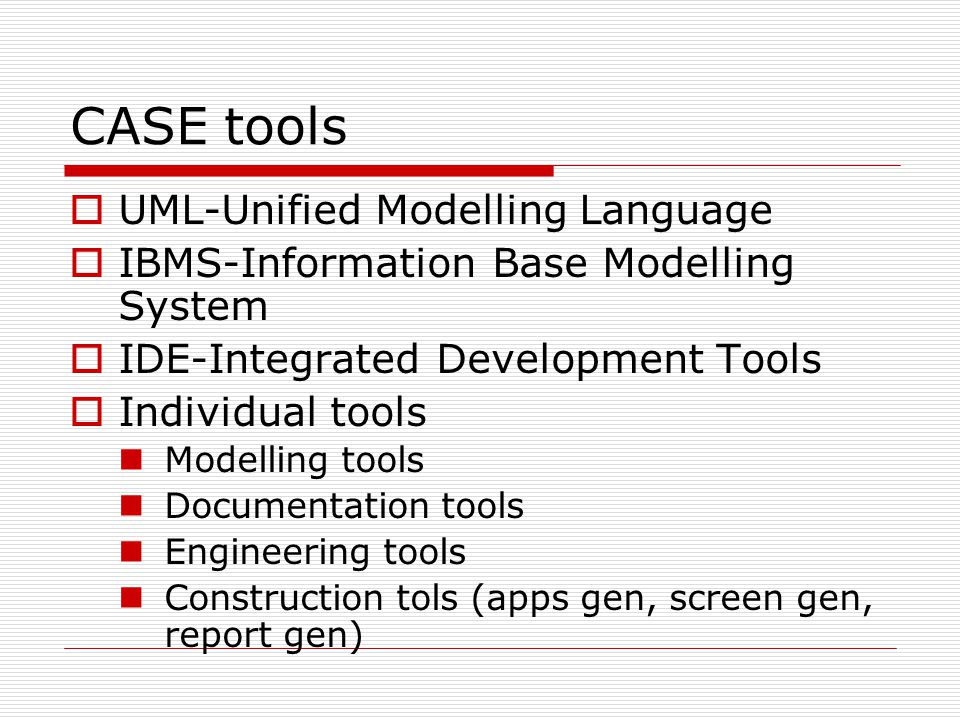 CASE tools UML-Unified Modelling Language