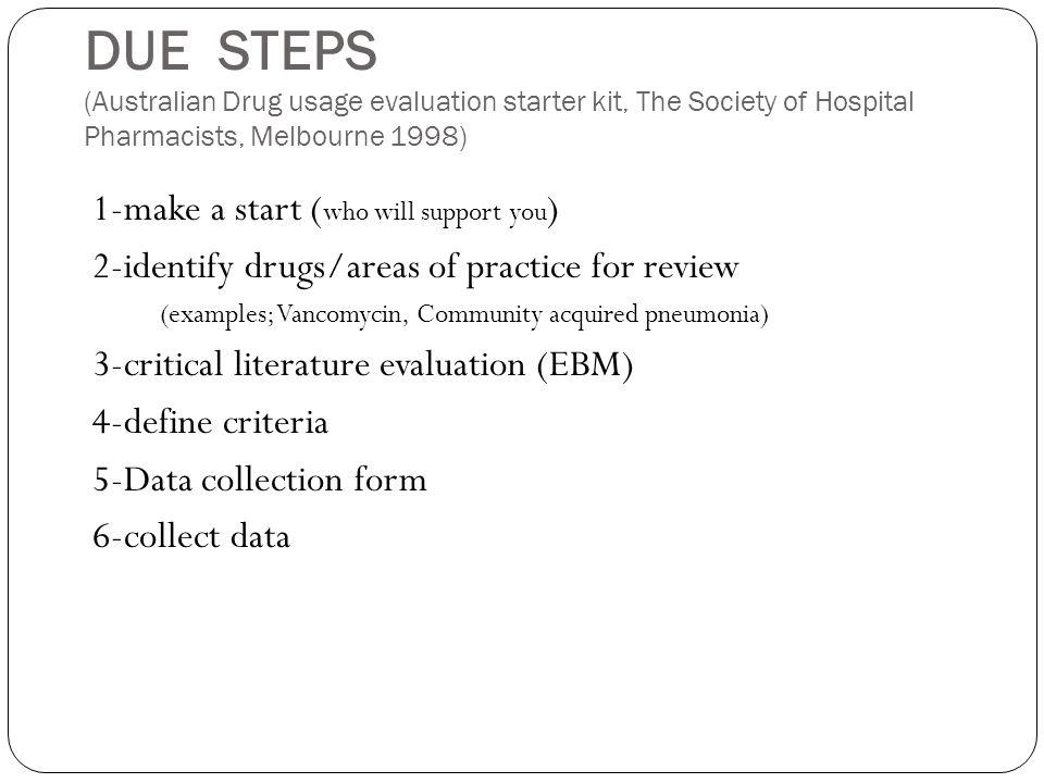 DUE STEPS (Australian Drug usage evaluation starter kit, The Society of Hospital Pharmacists, Melbourne 1998)