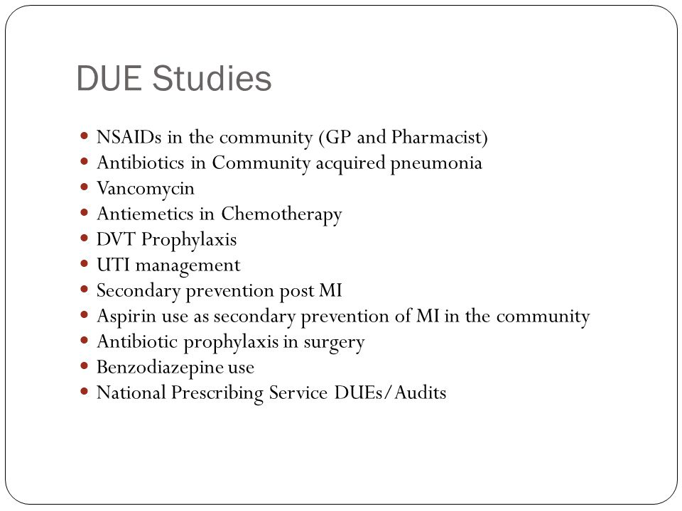 DUE Studies NSAIDs in the community (GP and Pharmacist)