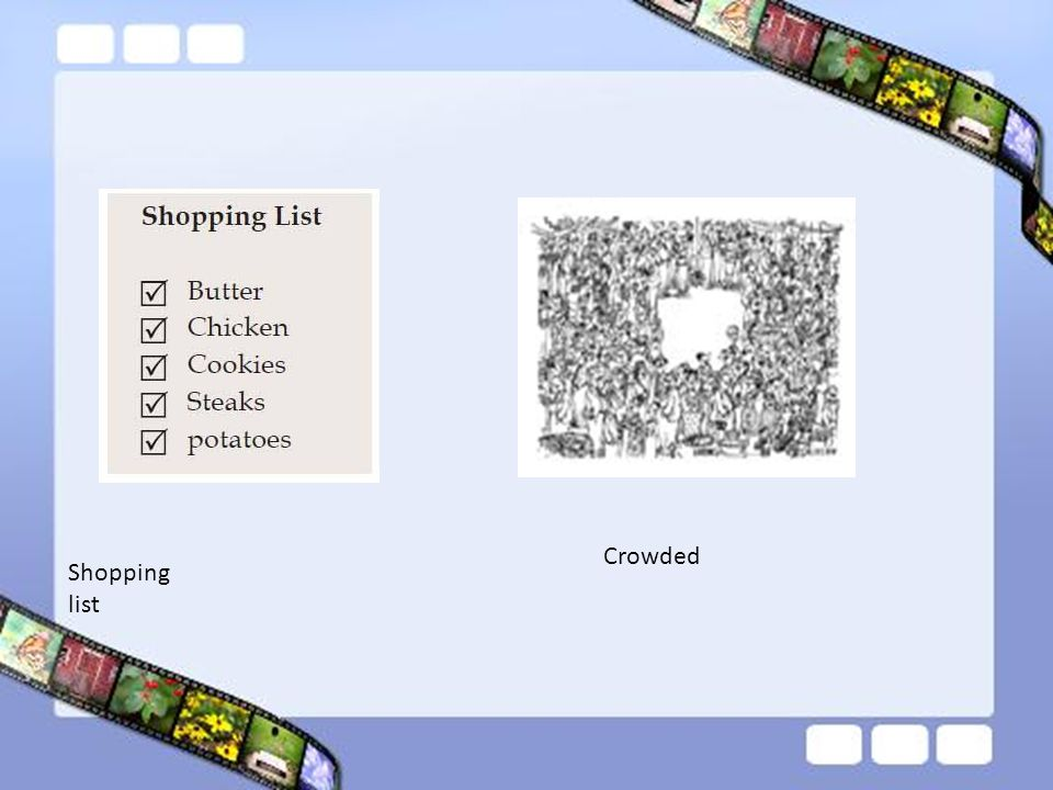 Crowded Shopping list