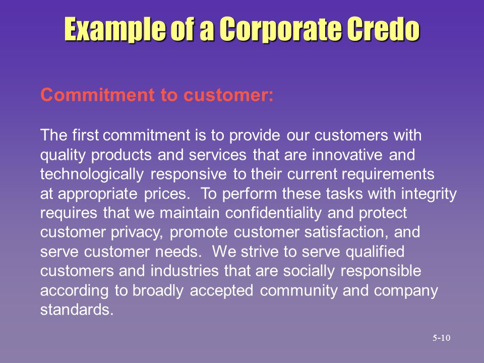 Example of a Corporate Credo