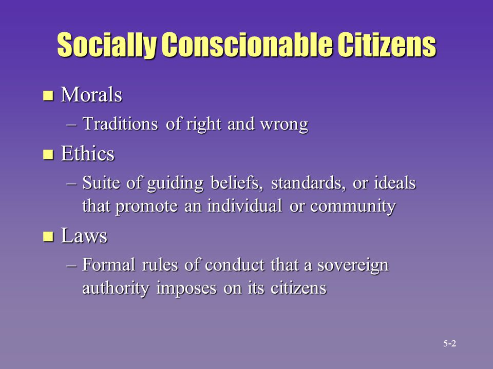 Socially Conscionable Citizens