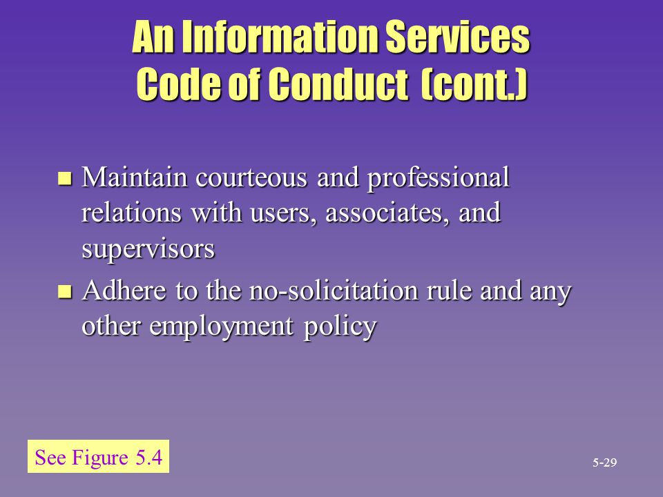 An Information Services Code of Conduct (cont.)