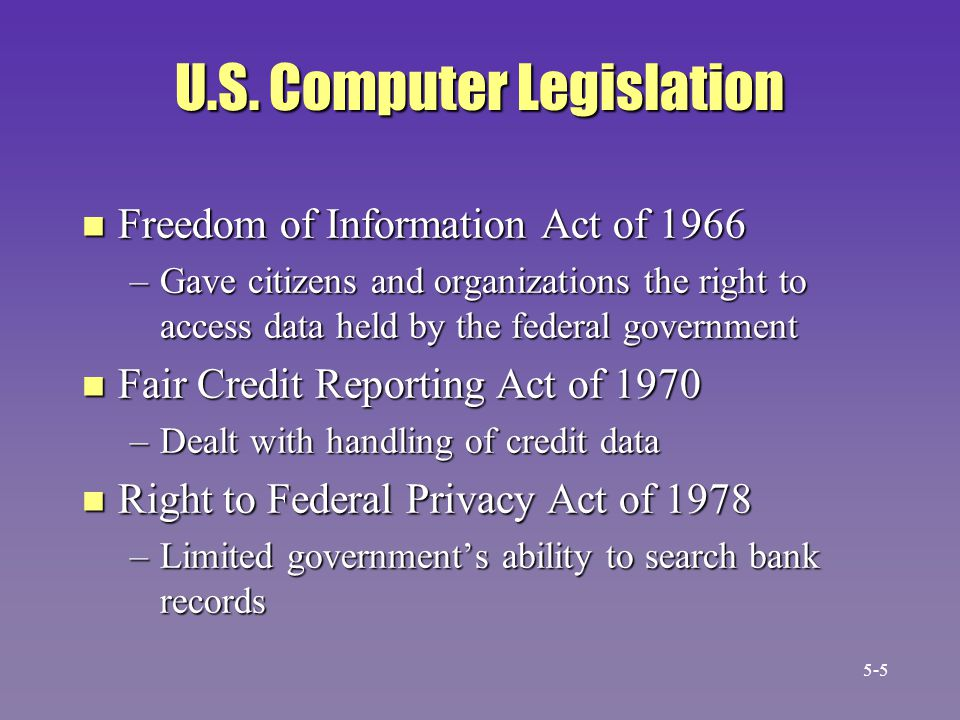 U.S. Computer Legislation