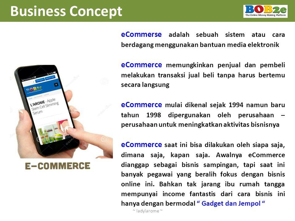 Business Concept eCommerse adalah sebuah sistem atau cara berdagang menggunakan bantuan media elektronik.