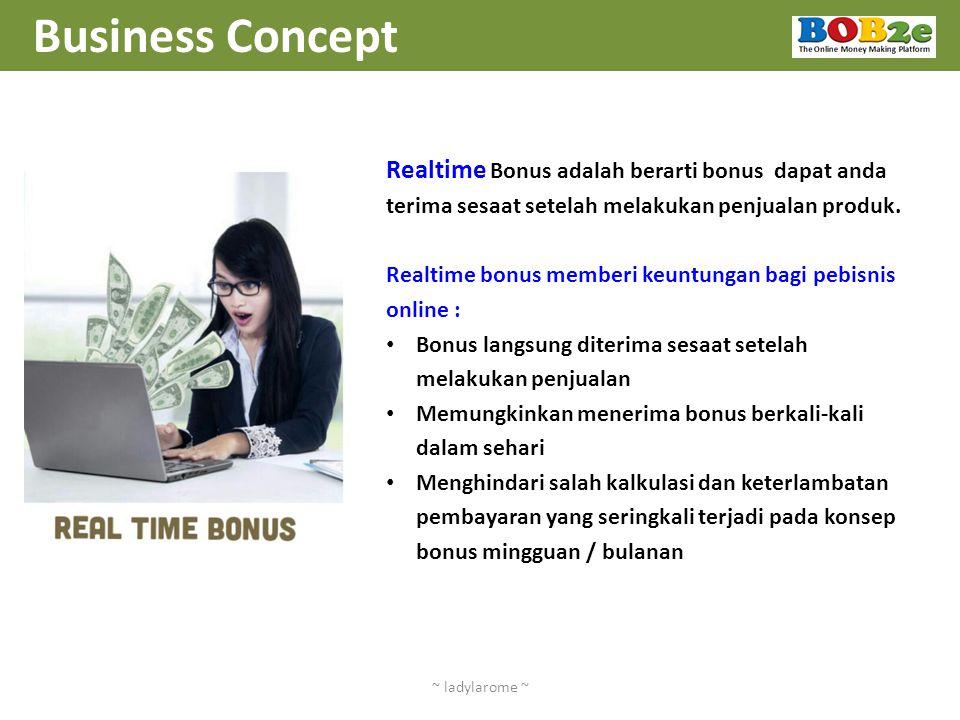 Business Concept Realtime Bonus adalah berarti bonus dapat anda terima sesaat setelah melakukan penjualan produk.