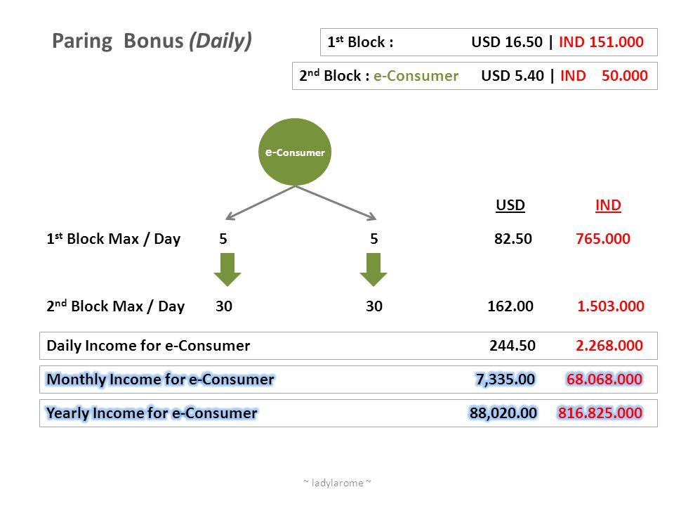 Paring Bonus (Daily) 1st Block : USD 16.50 | IND 151.000