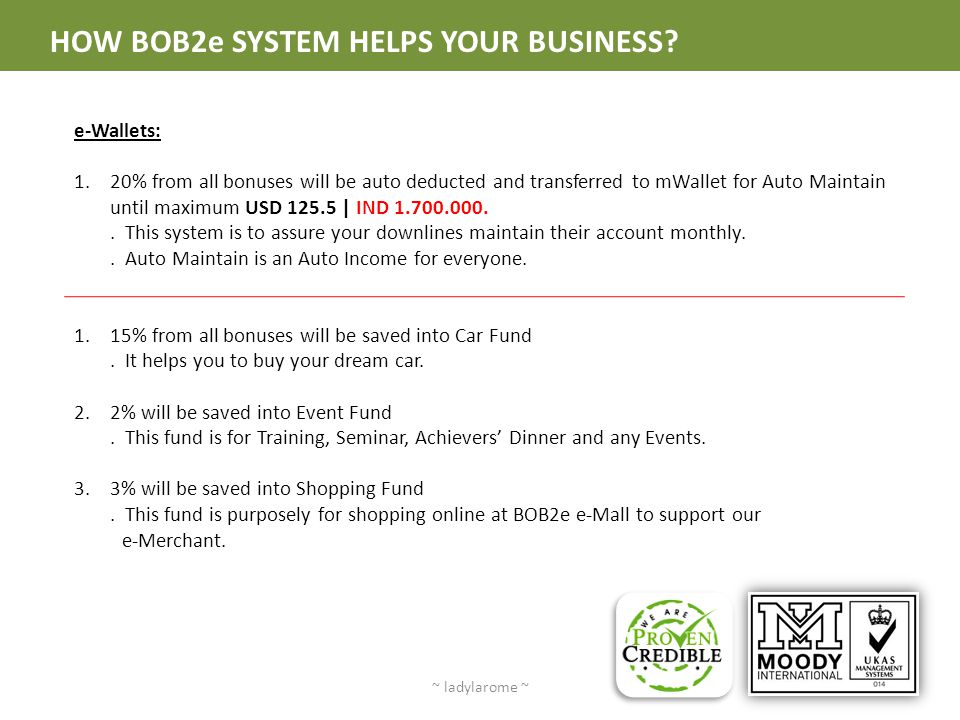 HOW BOB2e SYSTEM HELPS YOUR BUSINESS