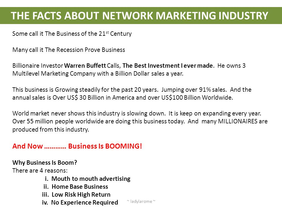 THE FACTS ABOUT NETWORK MARKETING INDUSTRY