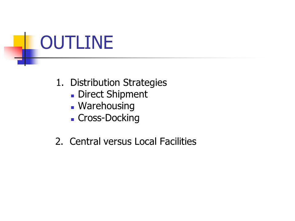 OUTLINE 1. Distribution Strategies Direct Shipment Warehousing