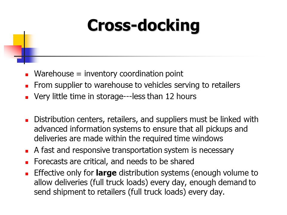 Cross-docking Warehouse = inventory coordination point