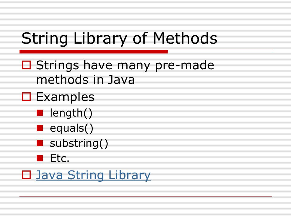 String Library of Methods