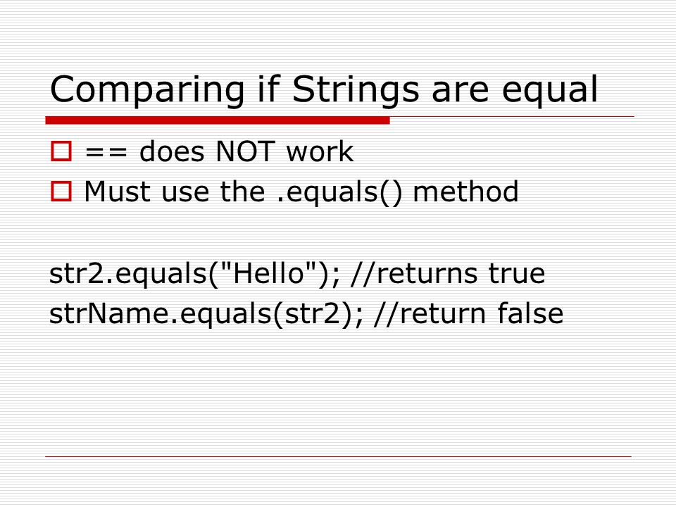 Comparing if Strings are equal