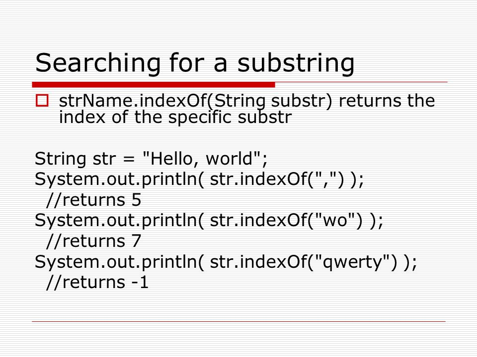 Searching for a substring