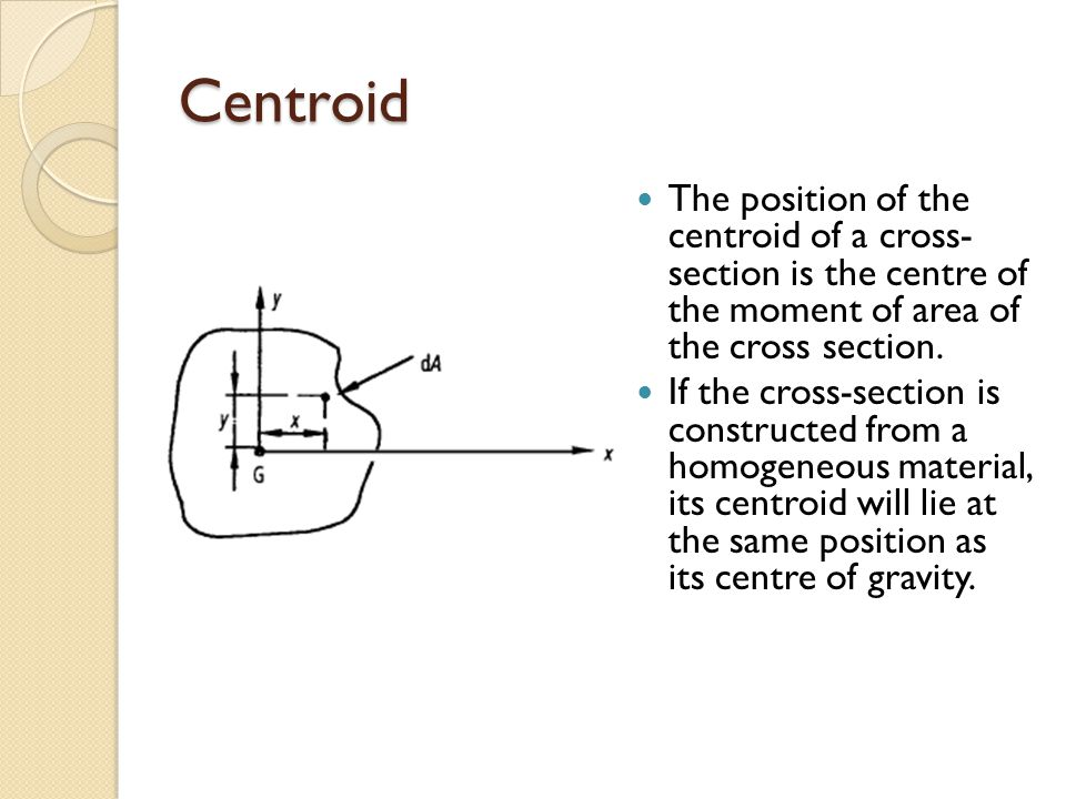 Centroid The position of the centroid of a cross- section is the centre of the moment of area of the cross section.