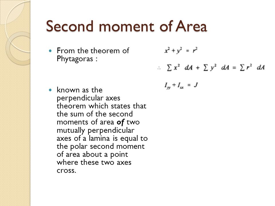 Second moment of Area From the theorem of Phytagoras :