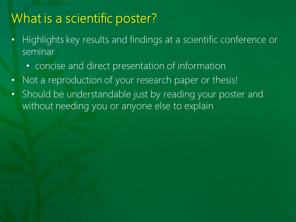 What is a scientific poster