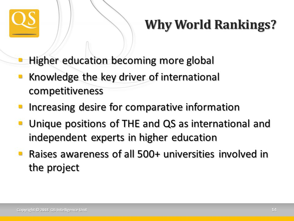 Why World Rankings Higher education becoming more global