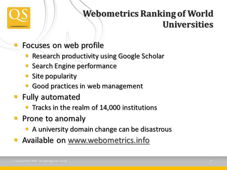 Webometrics Ranking of World Universities