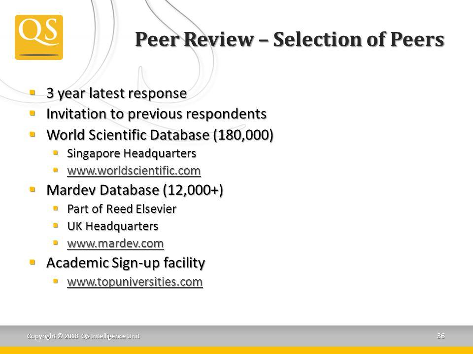 Peer Review – Selection of Peers