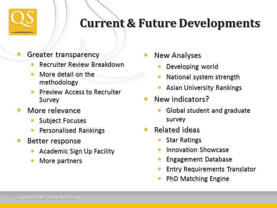Current & Future Developments