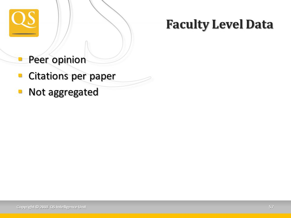 Faculty Level Data Peer opinion Citations per paper Not aggregated