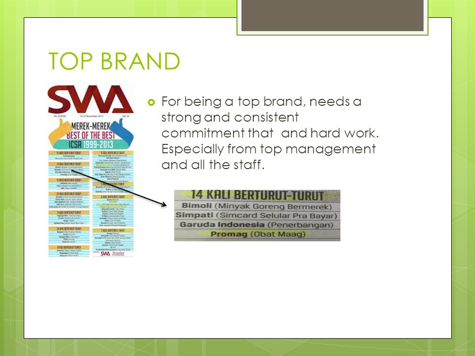 TOP BRAND For being a top brand, needs a strong and consistent commitment that and hard work.