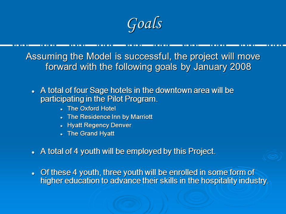 Goals Assuming the Model is successful, the project will move forward with the following goals by January 2008.