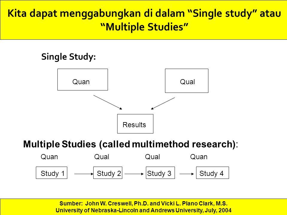 Kita dapat menggabungkan di dalam Single study atau Multiple Studies
