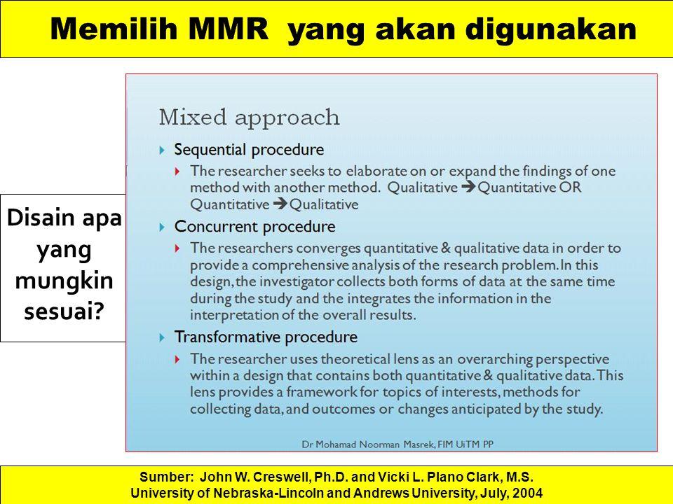 Memilih MMR yang akan digunakan