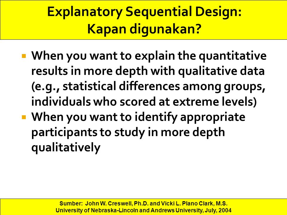 Explanatory Sequential Design: Kapan digunakan