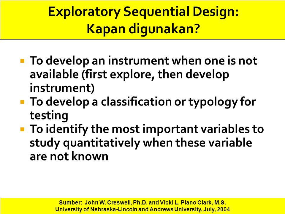Exploratory Sequential Design: Kapan digunakan