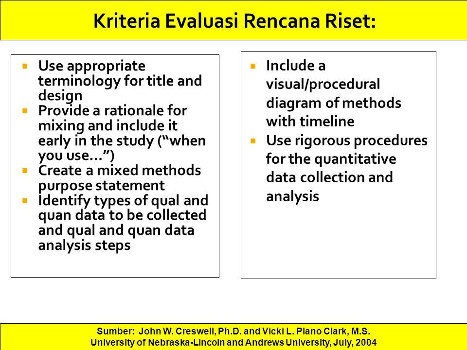 Kriteria Evaluasi Rencana Riset: