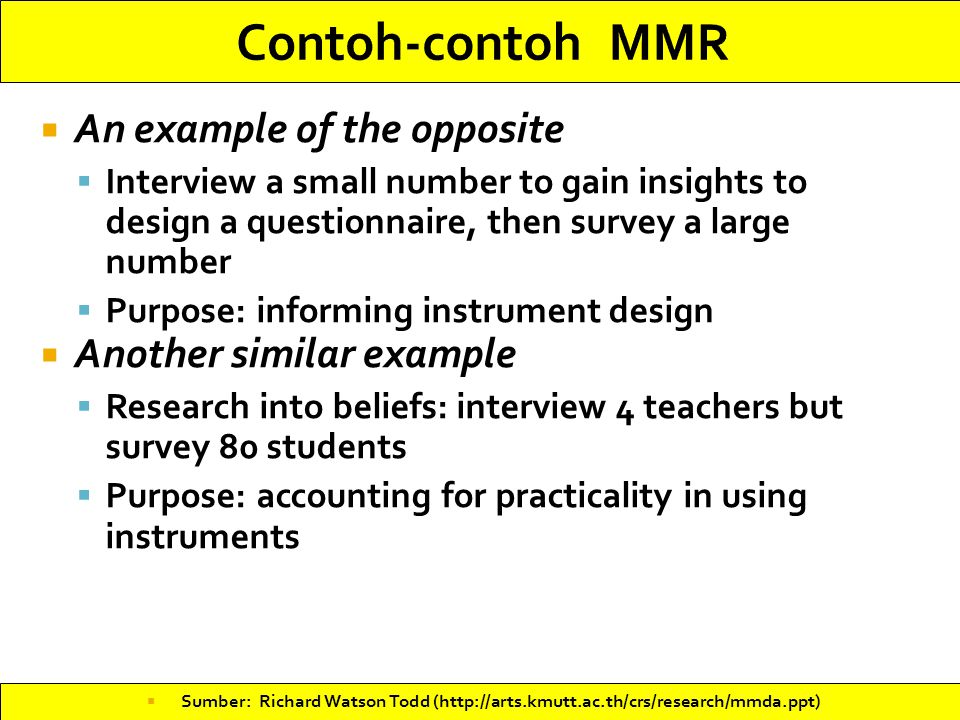 Contoh-contoh MMR An example of the opposite Another similar example