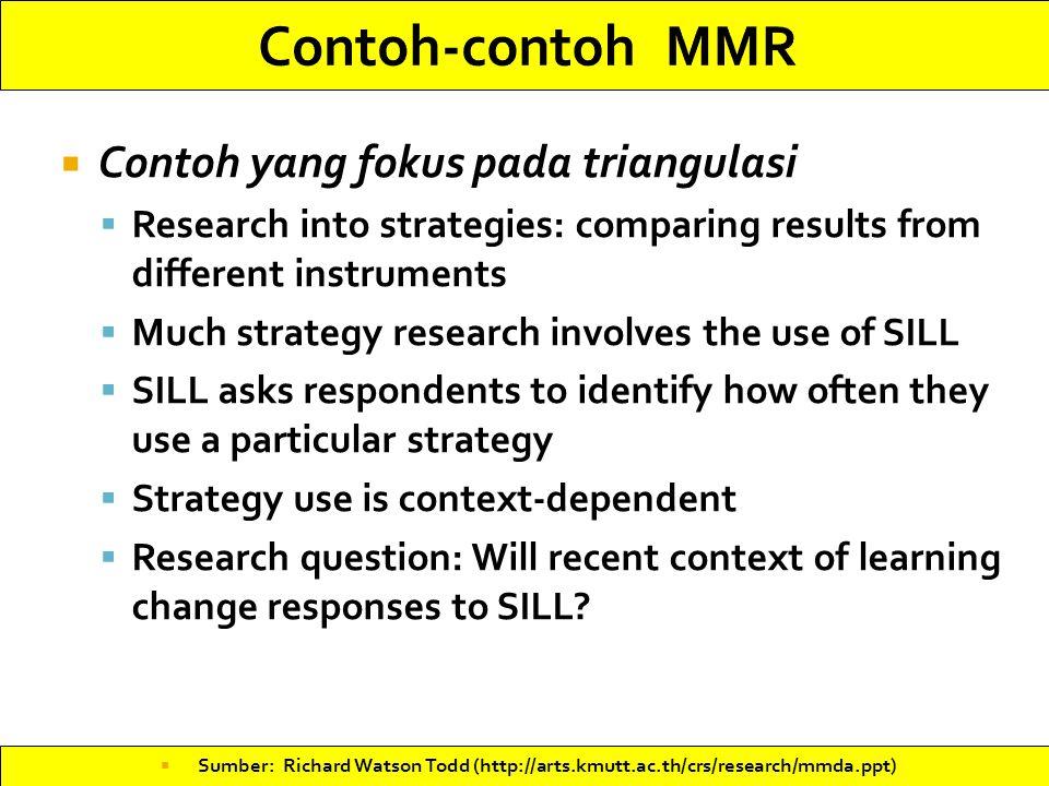 Contoh-contoh MMR Contoh yang fokus pada triangulasi