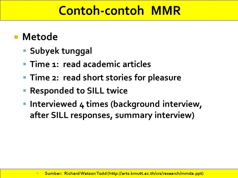 Contoh-contoh MMR Metode Subyek tunggal Time 1: read academic articles