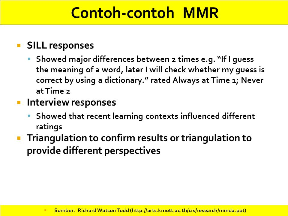 Contoh-contoh MMR SILL responses Interview responses