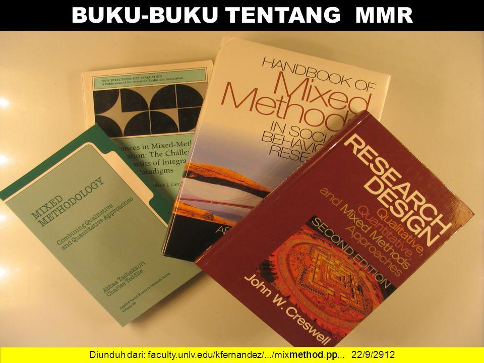 BUKU-BUKU TENTANG MMR Diunduh dari: faculty.unlv.edu/kfernandez/.../mixmethod.pp... 22/9/2912