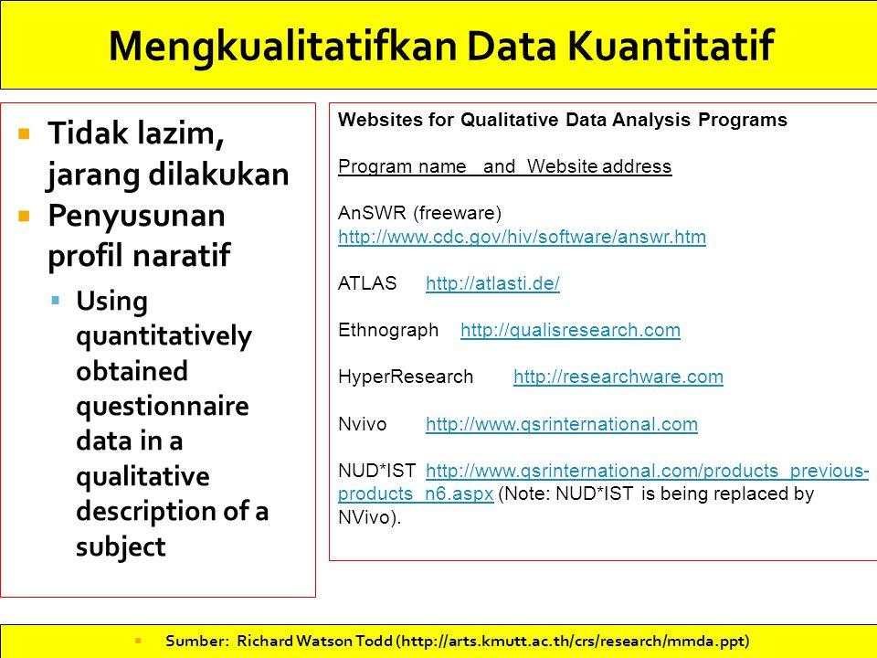 Mengkualitatifkan Data Kuantitatif