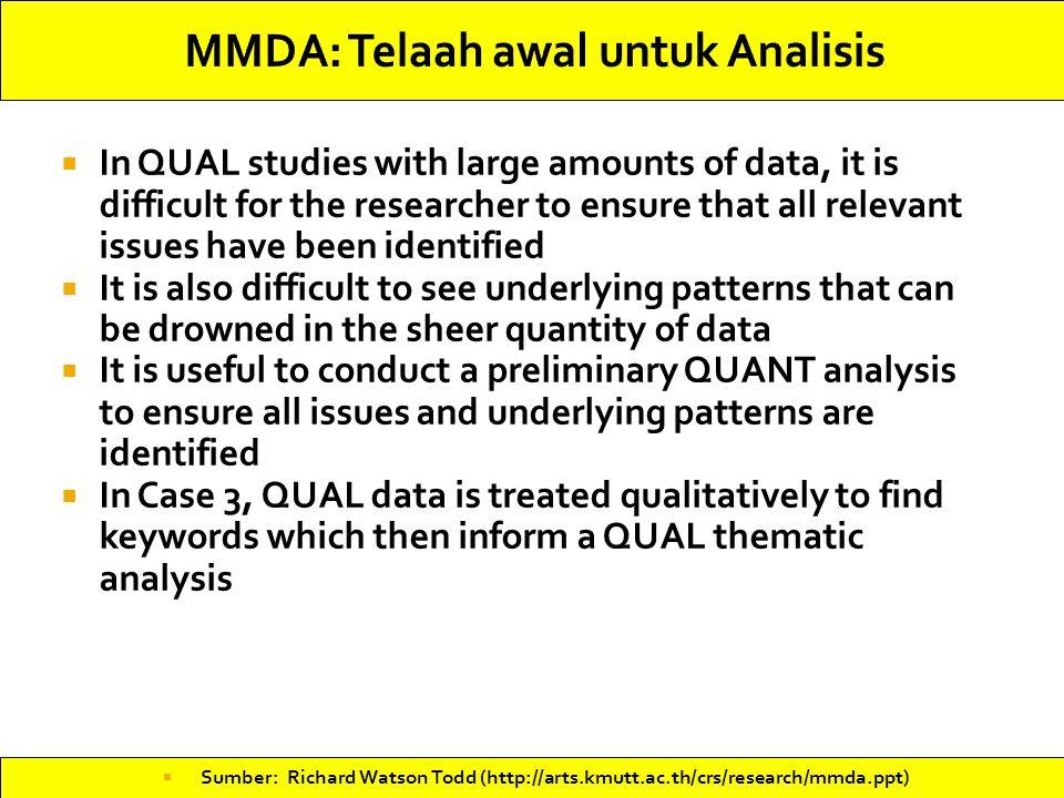 MMDA: Telaah awal untuk Analisis