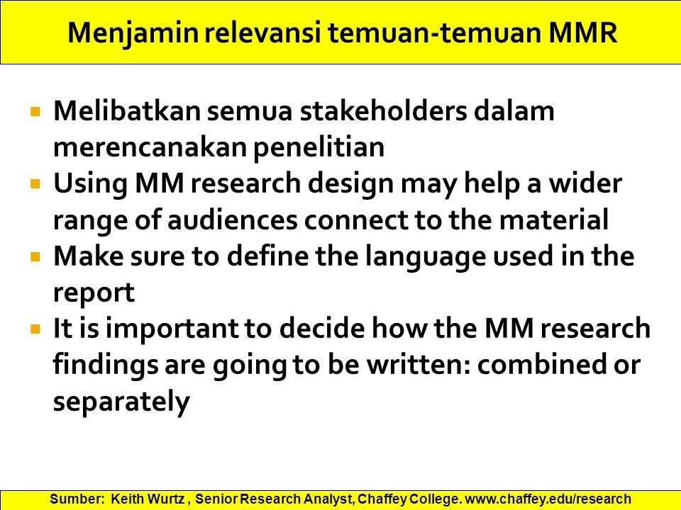 Menjamin relevansi temuan-temuan MMR