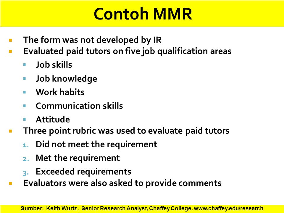 Contoh MMR The form was not developed by IR