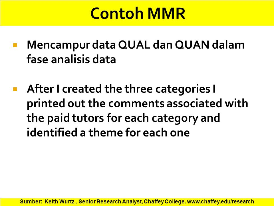 Contoh MMR Mencampur data QUAL dan QUAN dalam fase analisis data